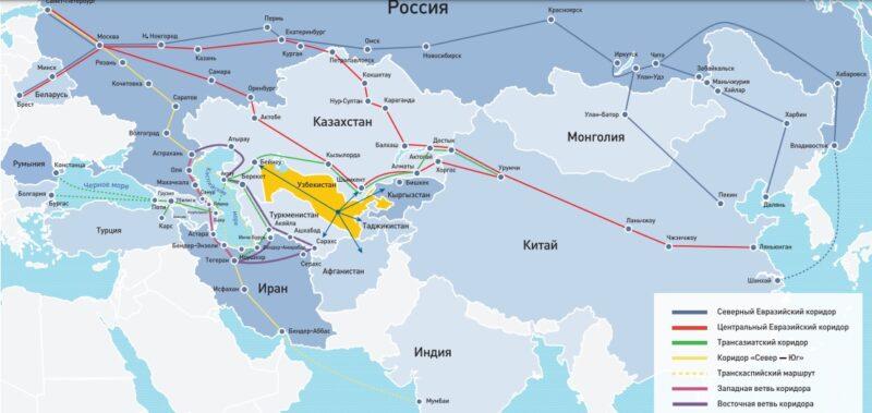 Ris. 5 osnovnye transevrazijskie koridory Istochnik EABR Cronos Asia